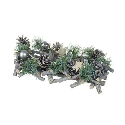 Silver Foliage T-Lights Centre Decoration